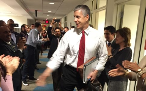 Secretary Duncan was beloved at the Department of Education. When he resigned in December 2015, the staff lined the hallways to say goodbye.